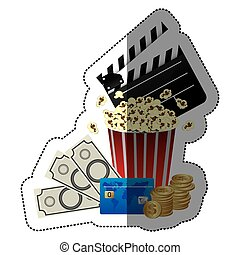 sticker color with popcorn cup with movie tickets and clapper board