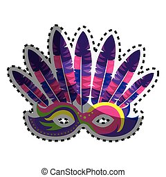 sticker colored venetian carnival mask with feathers