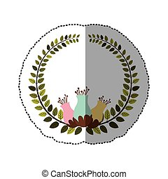 sticker colorful arch of leaves with pastel flowebud