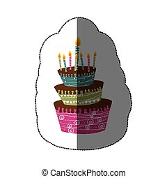 sticker colorful cake three floors with candles
