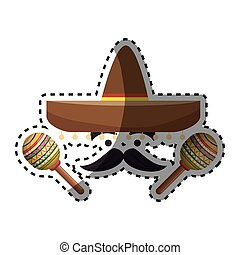 sticker colorful cartoon face with maraca and mexican hat