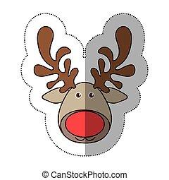 sticker colorful cartoon funny face reindeer animal