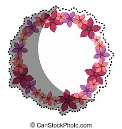 sticker colorful circular border with flowers