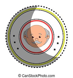 sticker colorful circular border with front face elderly man