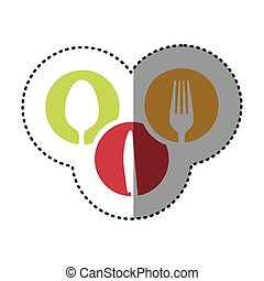 sticker colorful circular frames with silhouettes cutlery kitchen elements