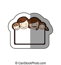 sticker colorful decorative frame with family faces