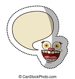 sticker colorful face cartoon gesture with dialog big...