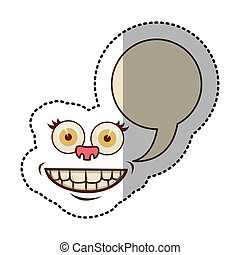 sticker colorful face cartoon gesture with dialogue callout...