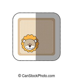 sticker colorful greeting card with picture lion animal