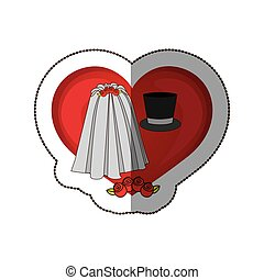 sticker colorful heart costume veil bride with hat groom