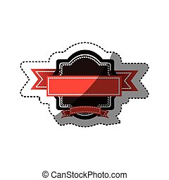 sticker colorful heraldic ornament with red ribbon decorative