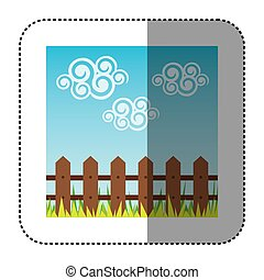 sticker colorful Landscape with wood grate and grass design