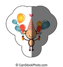 sticker colorful monkey animal with hat party and balloons icon
