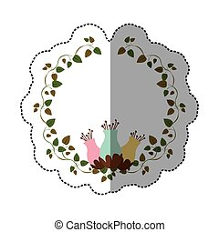 sticker colorful ornament creepers with flowerbud
