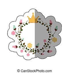 sticker colorful ornament creepers with flowers with crown