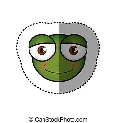 sticker colorful picture face of frog with big eyes