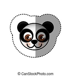 sticker colorful picture face of panda with big eyes