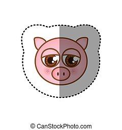 sticker colorful picture face of pig with big eyes