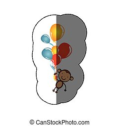 sticker colorful set flying balloons with cute monkey animal icon