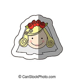 sticker colorful silhouette cartoon face bride with veil