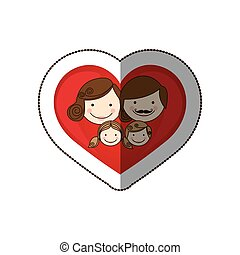 sticker colorful silhouette cartoon heart with family faces