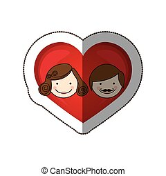 sticker colorful silhouette cartoon heart with parents face