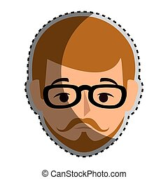 sticker colorful silhouette front view man with moustache and glasses