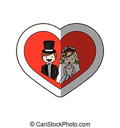 sticker colorful silhouette heart with half body cartoon married couple