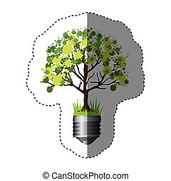 sticker colorful silhouette of light bulb base with leafy tree