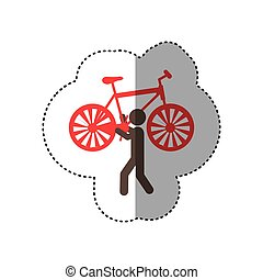 sticker colorful worker holding up bicycle