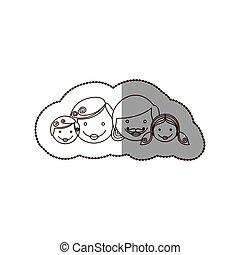 sticker contour cartoon family faces icon