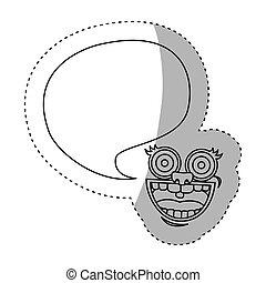 sticker contour face cartoon gesture with dialog big callout...