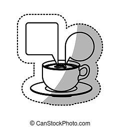 sticker contour set porcelain cup coffee with dialogue...