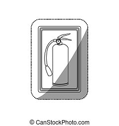 sticker contour signal with silhouette fire extinguisher icon