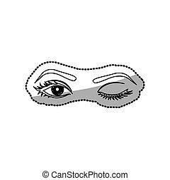 sticker contour Winking woman's eyes