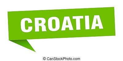 sticker., croacia, verde, indicador, poste indicador, señal