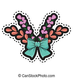 sticker crown of floral branch with blue ribbon