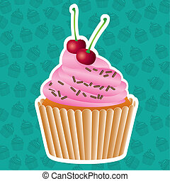 sticker cupcake on cupcakes pattern background, vector...