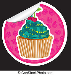 sticker cupcake with pattern silhouettes background isolated...