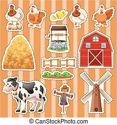 Sticker design for farm animals