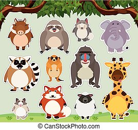 Sticker design for wild animals in the field