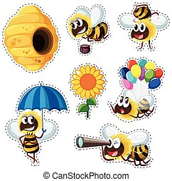 Sticker design with beehive and many bees