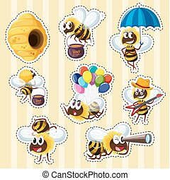 Sticker design with bees and beehive