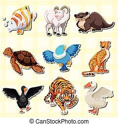Sticker design with cute animals