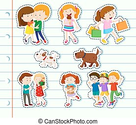 Sticker design with family and friends