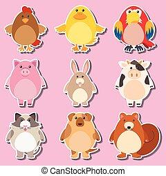 Sticker design with farm animals