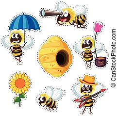 Sticker design with many bees flying