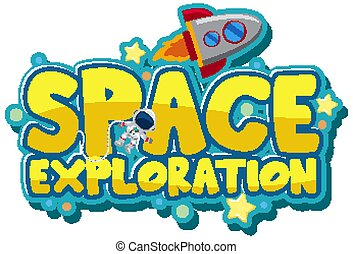 Sticker design with space theme on white background