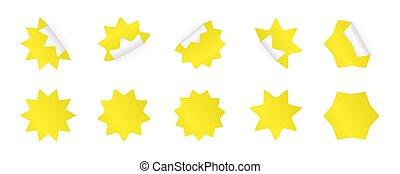 sticker., différent, ensemble, starburst, jaune, styles., sunburst, insignes