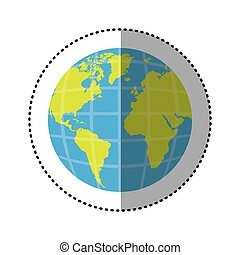 sticker earth world map with continents in 3d